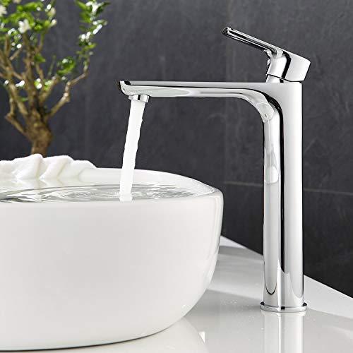 ubeegol Waschtischarmatur Hoher Auslauf Wasserhahn Bad Hoch Badarmatur Einhebelmischer Mischbatterie Aufsatzwaschbecken Armatur