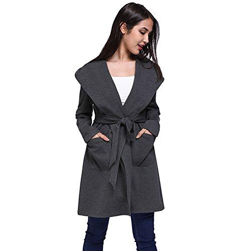 918coshiert Damen Frauen Vorne öffnen Loose Fit Mantel mit Kapuze Revers Trenchcoat mit Gürtel Grau L (Trenchcoats Für Frauen Auf Verkauf)