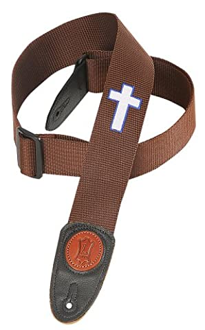 Levy's Leathers Mss8hc-brn 2 inch Polypropylene Strap with Embroidered Holy Cross - Brown