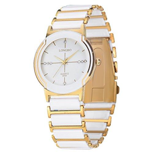 Weißgold Keramik-Uhren edles Paar Kleid Art und Weise Uhr rinestone Geschäft Armbanduhr Frauen