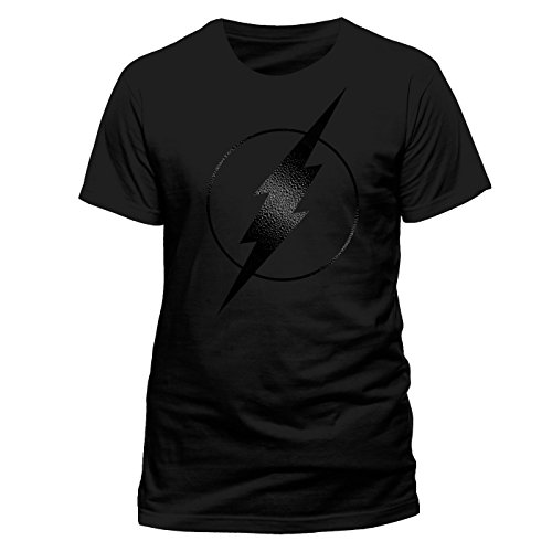 Kostüm Flash Black - The Flash Black on Black Logo Herren T-Shirt Offizielles Lizenzprodukt|schwarz-L