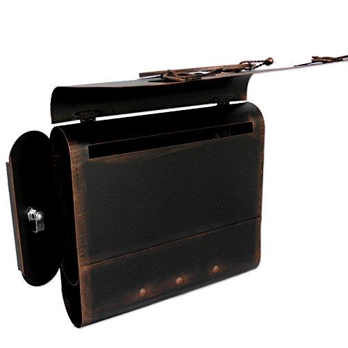 Briefkasten alter Schulranzen mit Posthorn im Antik-Look – Schwarz-Kupfer – Entnahme: Links - 5