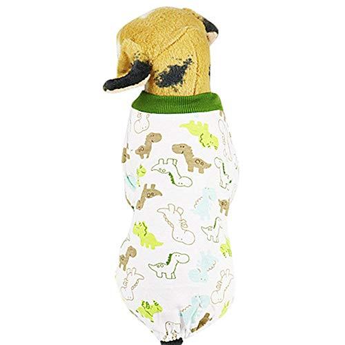Amphia - Pet vierbeiniger bedruckter Schlafanzug, Hundebaumwolle vierbeiniger Hausservice,Haustier Hund Welpen Nachtwäsche Pyjamas Kleidung Overall Baumwolle Kleidung Kleid Kostüm(L,B)