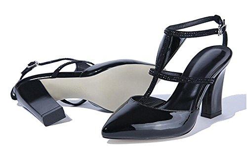 Beauqueen Pompe punta di piedi T-cinghie grosso tacco medio in pelle casuale delle donne Festa di lavoro Scarpe romani Elegante Bianco Nero Europa formato 34-39 Black