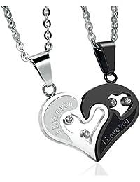 Sailimue 2 Piezas Collar de Acero Inoxidable Par Hombre Mujer Colgantes del Corazón de Puzzle