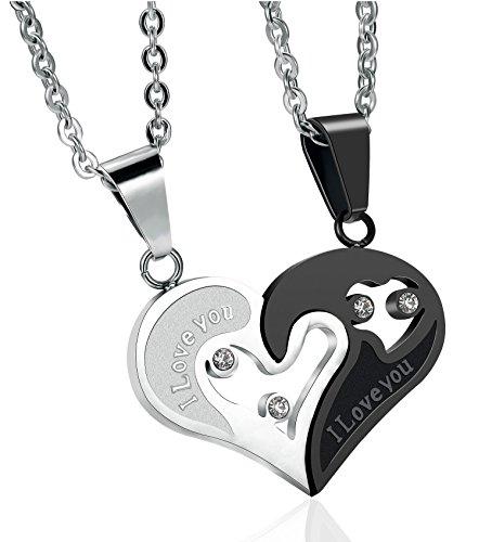 Sailimue 2 Pcs 316L Edelstahl Paar Halskette für Herren Damen Anhänger Herz Puzzle Halskette Liebe 56cm (Herz Halskette Paar)