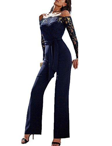 Junshan Damen Jumpsuit Elegant Overall Sommer Catsuit Lang Ärmellos V-Ausschnitt Clubwear Kleidung (38, Blau 1)