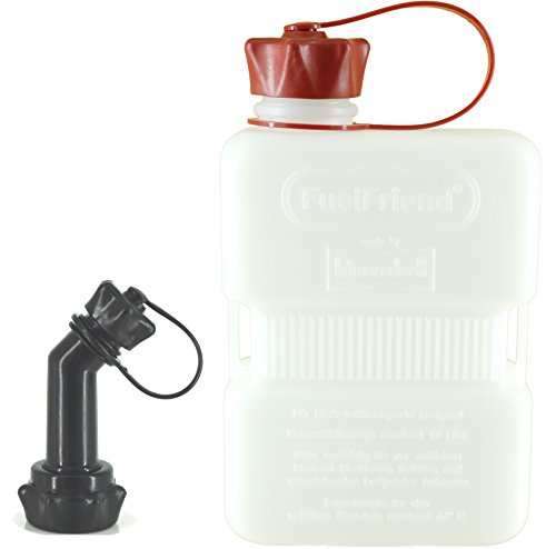 FuelFriend PLUS CLEAR 1,0 Liter Klein-Benzinkanister Mini-Reservekanister mit Füllrohr verschließbar