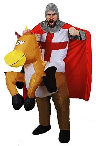 ST GEORGES RITTER KOSTÜM+AUFBLASBAR PFERD MIT BEFESTIGTER BEINE ENGLISCHE FLAGGE FUßBALLFANS EURO JUNGGESELLENABSCHIED ST GEORGES TAG ENGLAND-FLAGGE LUSTIG AUSWAHL ME GESCHNÜRT ZUBEHÖR ILOVEFANCYDRESS (Pferd Beine Kostüm)