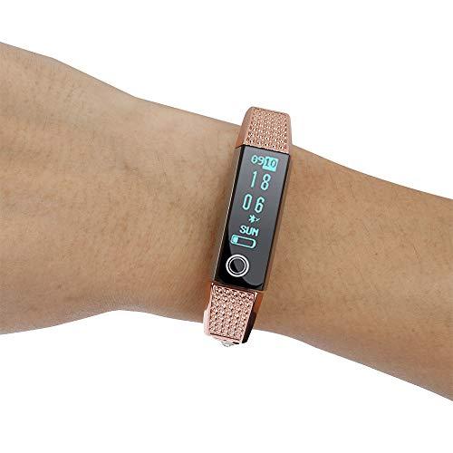 t Alta HR/Fitbit Alta mit Diamant Edelstahl Edelstahl-Kettenart Armband,Edelstahl Armbände mit Schnellverschluss Replacement für Damen Herren,175mm Bandlang (Rose Gold) ()