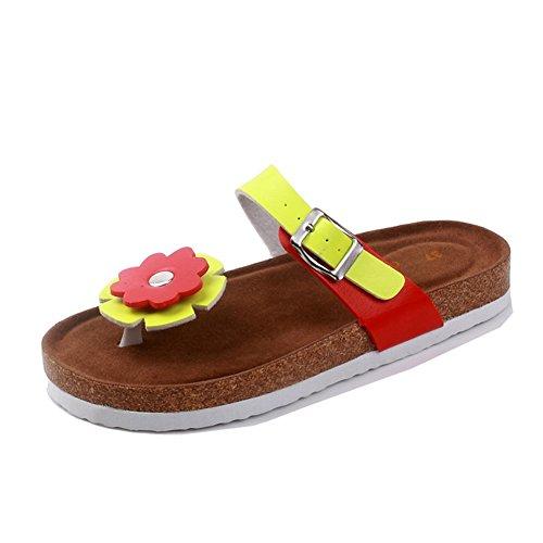 Damen Clip Toe Sandalen Strand Schuhe Pantoletten mit Korkfußbett Flip Flop Zehentrenner Offene Sandalen 1