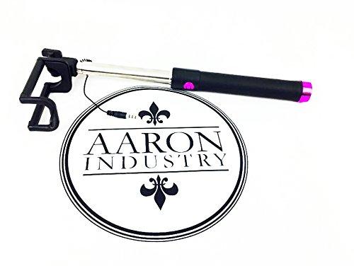 Aaron production Selfie Stick Selfie Barre ausfahr Bar [sans batterie] filaire Tige pour Samsung, Iphone, Nexus et autres smartphones (Rose)