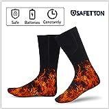 SAFETYON Beheizbare Socken für Herren und Damen, Beheizte Socken mit akku Baumwolle, Fußwärmer Socken für Ski/ Snowboarden/ Schneeräumung/ Eislaufen