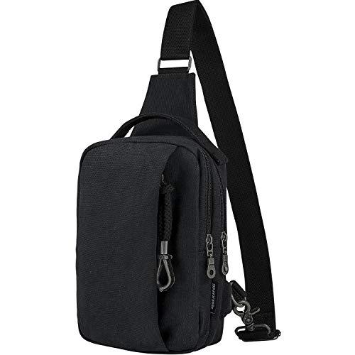 CSLETONG Cmxing Brusttasche mit USB Ladeport Schultertasche für Damen und Herren Daypack Canvas Sporttasche