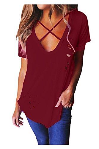 Aumir Maglietta Donna Estive Manica Corta Sexy Casual Tops T-Shirt Camicetta Collo V vino rosso