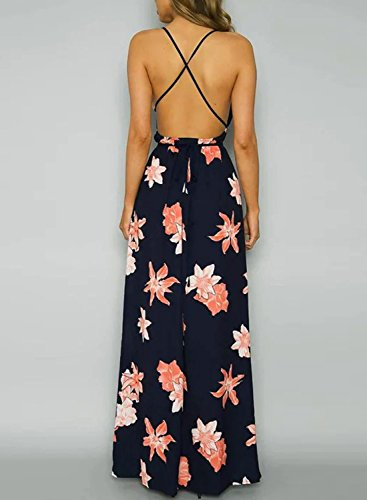 Azbro Women's Backless Floral Printed High Slit Maxi Prom Dress Navy