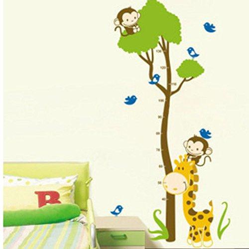 Asiv Giraffa Scimmia Stile Rimovibile Adesivi Murali Carta da parati Grafico di Crescita per Bambini Camera da Letto Decor Soggiorno Décor