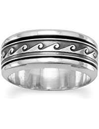 Oxidized Sterling Silver Spin Ring With Wave Design The Band Is 8.5mm - Ring Size Options Range: L to Z