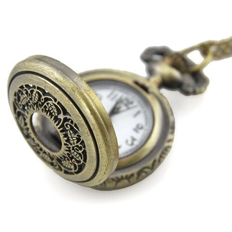 Montre pendentif médaillon en laiton chaîne-Horloge à Quartz-perforé-Feuille Filigrane Floral filigrane ARRIERE