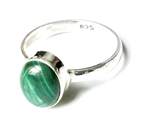 Shanya-Anello etnico in argento Sterling con malachite verde, argento massiccio autentico, malachite. Ogni Anello è a mano. La pietra è 5x 7mm. Design obcgm. Taglia., Argento, 53 (16.9), colore: green, cod.