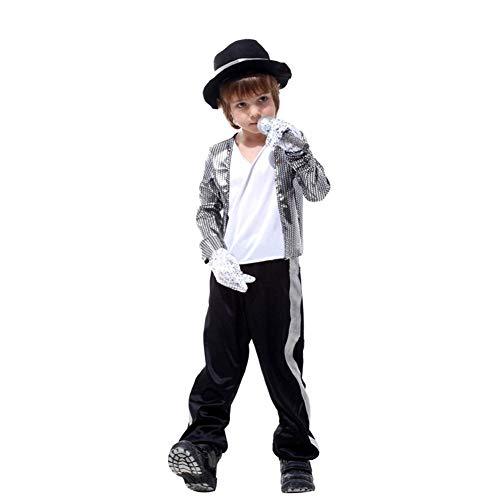 Kostüm Zubehör Michael Jackson - LOLANTA Jungen Halloween Kostüme Michael Jackson Kleidung Stage Performance Dancewear (6-7 Jahre)