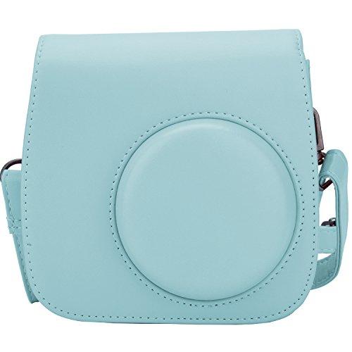 [Fujifilm Instax Mini 8/Mini 9 Tasche] - ZWOOS Reise Kameratasche Gehäuse Taschen mit Schultergurt/Weinlese PU Leder für Fujifilm Instax Mini 8/Mini 8S/Mini 9 Tasche(ice blau)