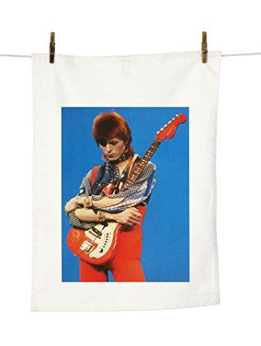 David Bowie Guitar Decorative Tea Towel natural colour by Vintage Magazine Company