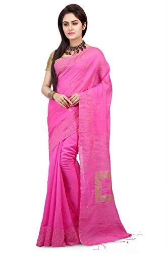 Wooden Tant Women's Silk Cotton Saree With Blouse Piece (Wbg02_Pink)