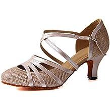 Latino Zapatos Mujer es De Baile Amazon Dorado RPnIwxq5