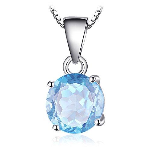 JewelryPalace Runde 2.5ct Natur Himmel Blau Topaz Birthstone Solitaire Anhänger Halskette 925 Sterling Silber 18 Zoll
