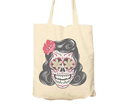 Pin-Up Girl Sugar Skull Dia De Los Muertos Tote Bags Tote Bags