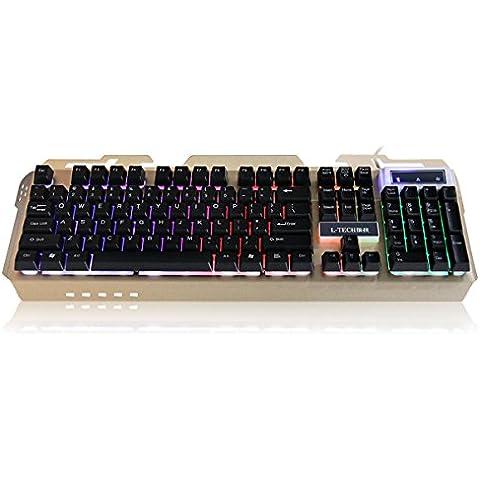 L-TECH X200 Tastiera da Gioco di Moda Sospensione Colorata Tastiera Incandescente (NI El Leggermente)