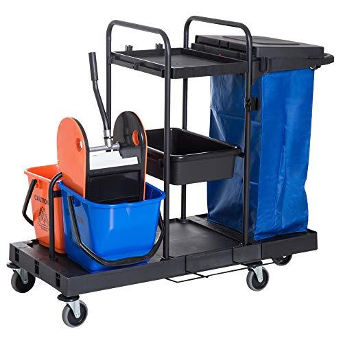 Homcom carrello delle pulizie hotel albergo professionale multiuso con 2 secchi ruote borsa di tela 111 × 63.3 × 103cm