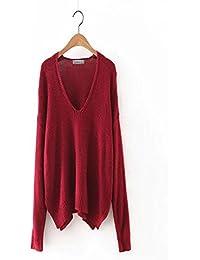 Señoras Ocio Suelto Con Cuello En V, rojo, large