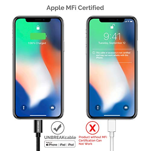 UNBREAKcable Apple iPhone Charger Cable - [Apple MFi Certified] - 6.6ft/2m Double-braided Nylon Lightning Cable Fast Charging Cable for iPhone Xs Max X XR 8 7 6s 6 Plus SE 5s 5c 5, iPad iPod Img 4 Zoom