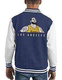 b629ee74d40 Cloud City 7 Lebron James of The Los Angeles Lakers Kid s Varsity Jacket