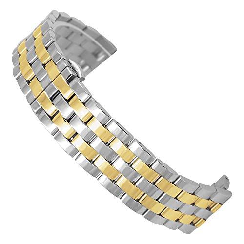 BONSTRAP Damen Uhrenarmband Edelstahl 18mm Silber mit Gold Ersatzband Metall - Watches Replica Invicta