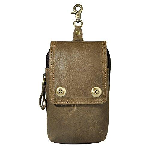 Le'aokuu Herren Leder Hüfttasche Gürteltasche Kleine Haken Taille Pack Telefon Beutel Tasche 011 grau