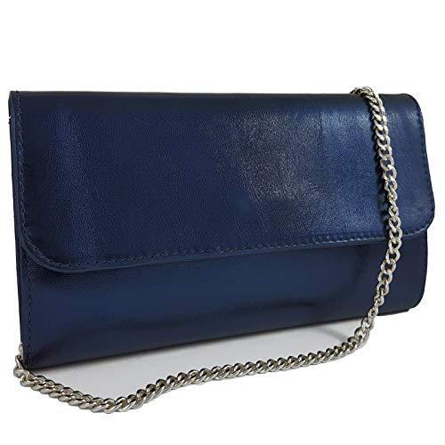 Freyday Echtleder Damen Clutch Tasche Abendtasche Muster Metallic 25x15cm (Dunkelblau Metallic)