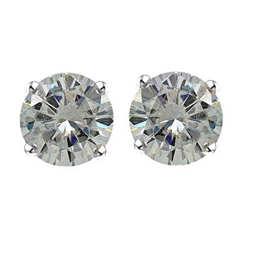 Lilu Jewels 1carato, taglio brillante rotondo Moissanite solitario orecchini con Spingere in argento Sterling (Taglio Rotondo Moissanite Solitaire)