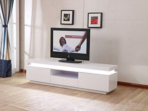 Mobile TV LED Ruth - 170 x 40 x 45,5 cm - Bianco laccato | Prezzi e ...