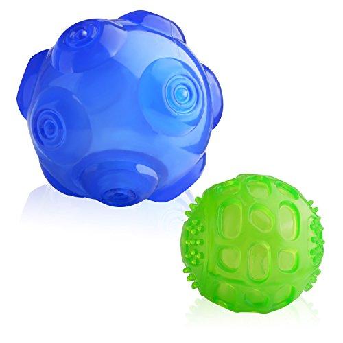 Lauva Spielzeug für Hunde, interaktives Quietsch Spielzeug aus langlebiegen Gummi, Trainigs und Spiel Bälle für Kleine, mittelgroße und große Hunde (Blau und grün)
