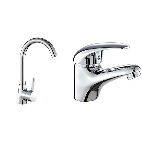 DP Grifería Lys – Grifo de fregadero, color plateado + Naranjo – Grifo de lavabo, color plateado