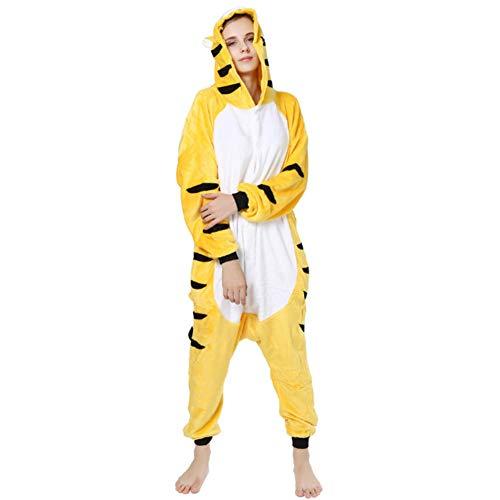 ZHEN Tiger Onesie für Frauen Adult Costume Onesie Pyjamas Sleeper Weihnachten Flanell Cartoon einteiligen Pyjamas,M -