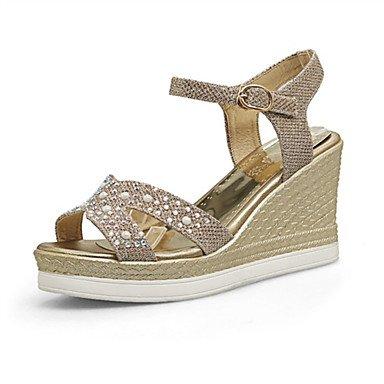 LvYuan Da donna-Sandali-Matrimonio Formale Casual-Altro Innovativo Club Shoes-Zeppa-Lustrini Materiali personalizzati Finta pelle-Nero Argento Gold