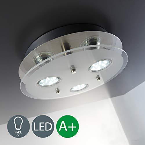 Lámpara techo moderna con 3x3W bombillas GU10, blanco cálido 3000K, 250x250x70mm, Metal y Cristal satinado, Foco LED 230V IP20