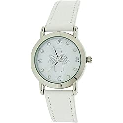 Jo For Girls Analogue White Dial Angel & Leather Strap Girls Fashion Watch JW019