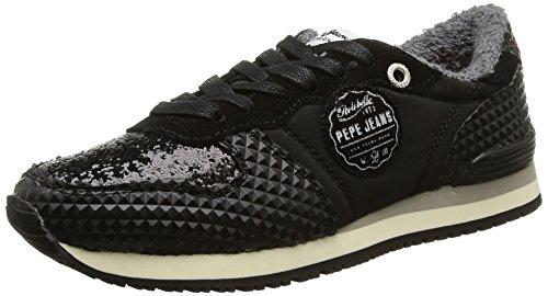 Pepe Jeans GABLE GLITTER, Low-Top Sneaker donna, Nero (Schwarz (999BLACK)), 41