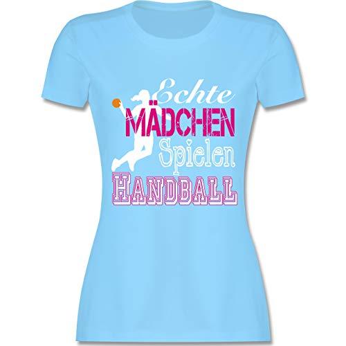 Handball - Echte Mädchen Spielen Handball weiß - L - Hellblau - L191 - Damen Tshirt und Frauen T-Shirt