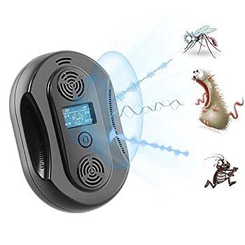 GLXQIJ RéPondeur Ultrasonique Intelligent D'Insecticide Antiparasitaire, Dispositif RéPulsif De Lutte Antiparasitaire D'IntéRieur, Commutateur Tactile Et éCran LCD,Black